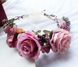 Wholesale Vintage Style Hair - Bridesmaid garlands wedding hair flowers Vintage style girls big stereo rose flower berries wreath children brithday party headwear R1022