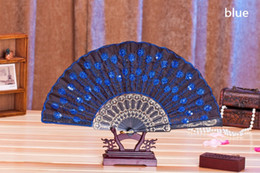 Wholesale Lace Fans Flowers - Plastic Embroidered Sequins Folding Flower Lace Fan Dance Hand Fans Party Wedding Decor Dancing Supplies wen4783