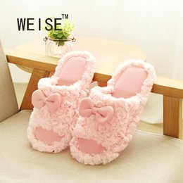 Wholesale Heavy Sewing - Wholesale- WEISE Free Shipping Summer Slip Heavy-Bottomed Cute Cartoon Wooden Floor Home Indoor Shoes,Women Slippers At Home Spring