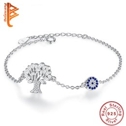 Wholesale Wedding Crystal Trees - BELAWANG Authentic 100% 925 Sterling Silver Bracelets Bangles Women Crystal Tree of Life & Evil Eye Round Charm Bracelet Zirconia Jewelry