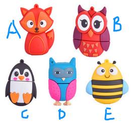 Wholesale Bee Flash - Kids Cute Animal Owl Fox Bee Penguin USB 32GB 64GB 128GB 256GB Flash Drive Portable Full Capacity Storage Pen USB flash drive