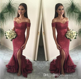 Wholesale Long Ruffled Formal Skirt - 2017 Burgundy Bling Bling Mermaid Prom Dresses Sexy Off Shoulder Sequined High Split Tiers Skirt Long Evening Party Wear Formal Dresses