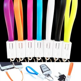 Wholesale Keychain Micro Charger - Short Micro USB Cable With Keychain Key Ring USB to Micro USB Cable Data Sync Charging Cord Charger for Android Samsung Nokia LG and More