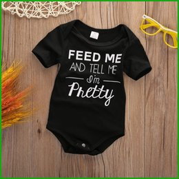 Wholesale Pretty Baby Headbands - newest hot selling Toddler baby rompers infant black letter baby boys girls rompers pretty kids jumpsuits outfits free shipping