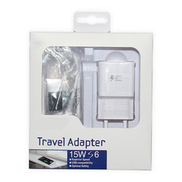 Wholesale Charger Combo - Fast Charger Adapter For Samsung 2 in 1 Combo USB Charger AC Home Wall Plug Power Adapters Cell Phone Cables Free Shipping Free Shipping