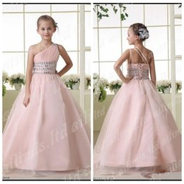 Wholesale One Shoulder Wedding Organza Pink - 2016 Vintage Pink One-shoulder Girl's Kid Wedding Flower Girls Dresses Princess A-Line Formal Dresses Custom Pageant Dress Organza