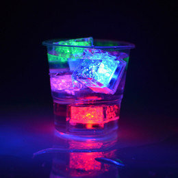 Wholesale Light For Drinking Bar - Led party lights Flash Ice Cube Water-Actived Flash Led Light Put Into Water Drink Flash Automatically for Party Wedding Bars Christmas