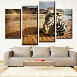 Wholesale Realistic Oil Painting - Sadness Zebra Realistic Paintings Zebra Oil Painting Canvas Art Wall Decor on Canvas Fashionable Canvas Paintings for Sale