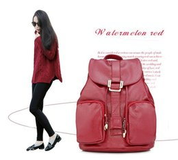 Wholesale Ladies Leather Laptop - New Korean Style Litchi Grain Pu Leather Ladies Fashion Street Snap Shoulder Bag Back Packs Women's Daily Laptop Zipper Bag Rucksack