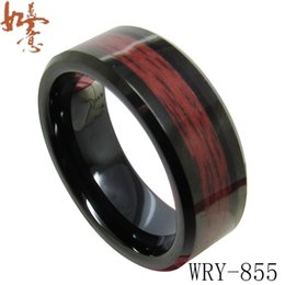 Wholesale wood inlay rings - Red Wood Inlay Black Tungsten Ring Bands for Men WRY-855 8mm width