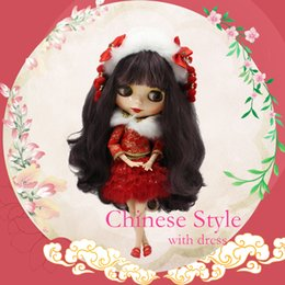 Wholesale Plastic Eyes For Dolls - Wholesale- Blyth Doll Nude Mixed Color Black & Purple Brown Long Wavy Hair Joint Body 4 Colors For Eyes Suitable For DIY