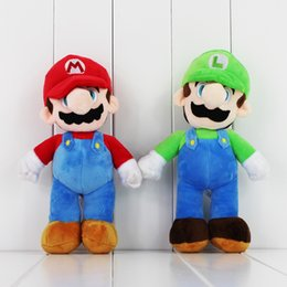 Wholesale Super Mario Plush Figures - Super Mario Bros Stand LUIGI Mario Plush Soft Doll Stuffed Toys 10inch for kids gift Free Shipping