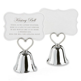Wholesale Graduation Place Cards - Heart Bell Place Card Holder Silver Metal Kissing Bell Place Photo Holders Wedding Favors DHL Free Shipping