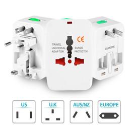 Protettore di sovratensione viaggi internazionali online-Alimentatore universale da viaggio per caricabatterie da muro per spina Surge Protector Universal International Alimentatore da viaggio plug (US UK EU AU AC Plug)