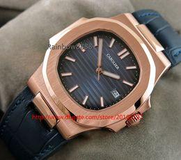 Relógio rosa borboleta em couro dourado on-line-Novo estilo relógios rosa de ouro quadrado mecânico automático mens Watch Azul Dial pulseira de couro borboleta fecho relógio 5711T