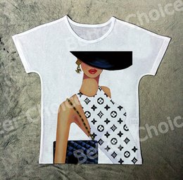 Wholesale Printed T Shirt Bags Wholesale - Wholesale- Track Ship+Vintage Retro Cool T-shirt Top Tee Magic Fashion Office Lady Hand Bag on Model Show 1205