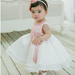 Wholesale Tutus Girls Night - Newborn Baby Girl 1st Birthday Outfits Little Bridresmaid Wedding Gown Kids Frock Designs Girls Christmas Dress Baby Tutu Dress DK1039CR