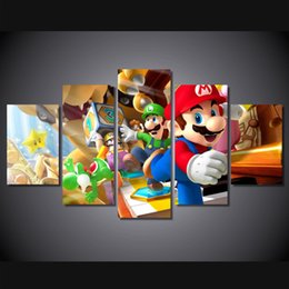 Wholesale Mario Pictures - 5 Pcs Set Framed Printed super mario characters Painting Canvas Print room decor print poster picture canvas Free shipping ny-4177