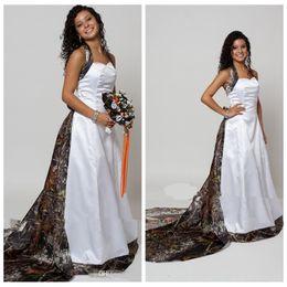 Wholesale online vintage wedding dresses - Halter Camo A Line Wedding Dresses With Detachable Chapel Train Long Formal Bridal Gowns Custom Made Online Vestidos De Novia Spring 2018