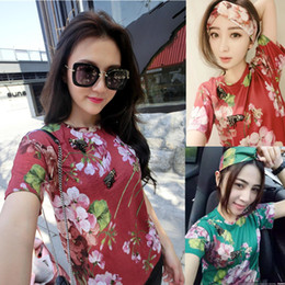 Wholesale Designer Ladies Shirt - 2016 New Blush Pink Blooms Print Women T shirts Famous Brand Designer Spring Summer Ladies Tshirts With Bees 2 Colors Free Shipping