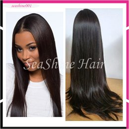 Wholesale Lace Wigs Virgin Straight - 2016 Free Shipping 100% Indian Virgin Hair Full lace wigs 8-34inch Medium Brown Lace color #1b#NA #2 Good Quality Silky Straight Hair