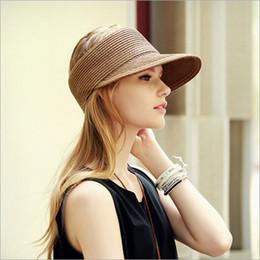 Venta al por mayor- 2017 Fashion Sraw Snapback Hat para mujer Casual Summer Sun Cap Anti-UV Sun sombreros al aire libre plegable Ladies Cap desde fabricantes