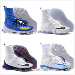 Wholesale Cheaper Kd Shoes - Kevin Durant KD8 Elite Low Home White Blue Kds OKC Sneakers Basketball Shoes 2016 New Cheap KD 8 Playoff Men Training Shoes