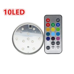Wholesale Led Tea Lights Remote - 10 LED Wedding Decoration Waterproof Submersible LED Party Tea LED Light With Remote For Halloween Christmas Decor