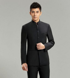 Wholesale Chinese Style Tuxedo - 2016 3 piece Mao Suit Chinese Tunic Slim Fit Casual Style Formal Business Wedding Suits for Men Tuxedo Quality Jacket+Pants+Vest