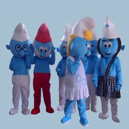 Wholesale Mascot Cartoon Costumes - 2016 Hot Selling Lovely Blue Smurfs Papa Smurf Mascot Costume Halloween Party Fancy Dress cartoon costume factory Children adult Size
