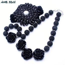 Wholesale Chunky Jewelry Bracelets - Fashion Black Color Necklace&Bracelet Headband 3PCS Jewelry Set Rose Flower Toddlers Girls Bubblegum Baby Kids Chunky Necklace Jewelry Set