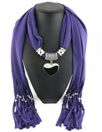 Wholesale Necklace Scarves Heart - Newest Cheap Fashion Women Scarf Direct Factory Jewelry Tassels Scarves Women Black&white Heart Necklace Scarf From China