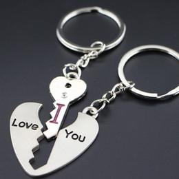 Wholesale Love Gift Two Lovers - 2017 Love Heart Shape I LOVE YOU Rhinestone Key Chain Ring Keychain Keyring Lover Couple Keyfob Gift Two Style keychain2016