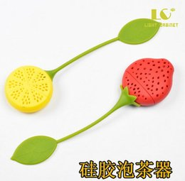 Wholesale Tea Dipper Balls - Strawberry Lemon Shape Silicon Tea Infuser Strainer Silicon Tea Filler Bag Ball Dipper Tea Tools Cup Hanger