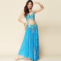 Wholesale Bollywood Dresses - 2016 Belly Dance Costume 2pcs And 3pcs Long Gypsy Skirts Bollywood Dance Costumes Indian Dresses Ropa De Danza Del Vientre