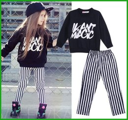 Wholesale Zebra Print Leggings Girls - girls summer suits black long sleeve letters print long stripes pants 2PC Kids Girls Casual Sets Clothes Tops Coat Leggings Pants Outfits
