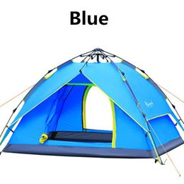 Wholesale Blue Hydraulics - Hydraulic Automatic Tent Camping Shelters Waterproof Sunny Tent Quick Automatic Opening Double-deck Protective Outdoors Tents 3-4 Person