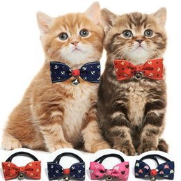Wholesale Lovely Dog Collar - 100pcs loot Cute Lovely Pet Dog Bowknot Tie Bow Necktie Collar Has the bell Pet Clothing Dog Cat Puppy IC757