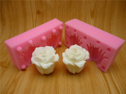 Wholesale Silicone Soap Molds Rose - 3D rose fondant cake molds, silicone molds, chocolate, soap, wax-like mold, free shipping