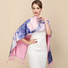 Wholesale Big Silk Scarves - 2017 Fashion Designer Ladies Big Scarf silk Scarf Women Brand Wraps Real Double-deck Thickened Brush Autumn Winter Shawl Scarves