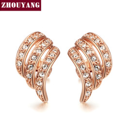 Wholesale Vintage Stud Earrings Wedding - Angle's Wing Rose Gold Color Stud Earrings Jewelry Vintage Cubic Zirconia Wholesale Wedding For Women Top Quality ZYE037