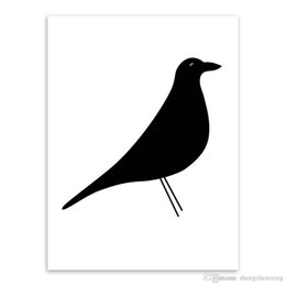 Wholesale Bird Picture Frames - Minimalist Black White Animal Bird A4 Large Poster Prints Abstract Picture Canvas Paintings No Frame Gifts Nordic Home Wall Art