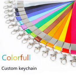 Wholesale Blank Keychains - Colorful Carabiner Custom Made Keychains Plain Blank Printing Logo Nylon Hanging Belt Lanyard Exhibition Badge Sling Personalized Gifts