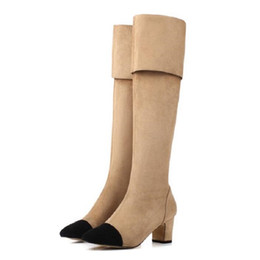Wholesale Sexy Black Booties Shoes - New Brand Designer Over The Knee Thigh High Stretch Suede Leather Boots Sexy Nude Black Fashion Woman High Shoes Booties