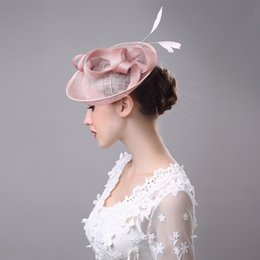 Wholesale Fascinator Headpieces - 2017 Women Bridal Hat Linen with Feather Lady Chic Fascinator Hat Cocktail Wedding Party Church Headpiece Hair Accessories