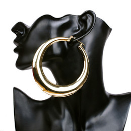 Wholesale Basketball Wives Fashion Jewelry - Wholesale- Hot Sale Basketball Wives Smooth Hoop Earrings Gold Big Round Fashion Earrings for Fashion Women Jewelry