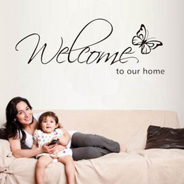 Wholesale Television Wholesales - Welcome To Our Home Quote Removable Vinyl Decal Wall Stickers Art Room Decor