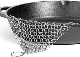 Detergente per ghisa Rete ad anello in acciaio Spazzola per capelli Spazzola per vasi di pulizia in metallo Non arrugginire mai Rete di decontaminazione 7 * 7 pollici all'ingrosso da