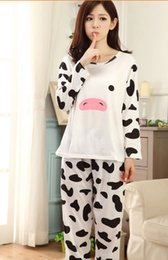 Wholesale Cute Women Pajama - Wholesale- 2015 New Cotton WOMEN Pajama Sets Long-Sleeved O-Neck Comfortable Sleepwear Cute Cartoon Images Pyjamas Women S-XL Pajamas