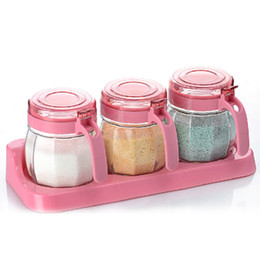 Wholesale Ceramic Salt Cellar - 3pcs   set Glass Spices Jar Give away Spoon Dustproof Handgrip Kitchen Supplies Seal Salt Pepper Seasoning Cans Storage Container Kit